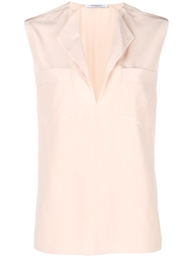 sleeveless split neck blouse PINK