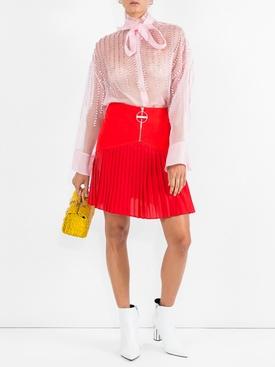 zip front pleated mini skirt