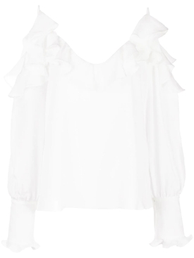 Marley Ruffled Cold Shoulder Blouse WHITE