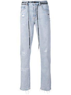 Off-white - Distressed Firetape Jeans - Men