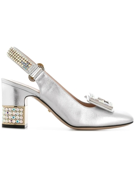 Gucci - Leather Mid-heel Slingback Pump With Crystal G - Women
