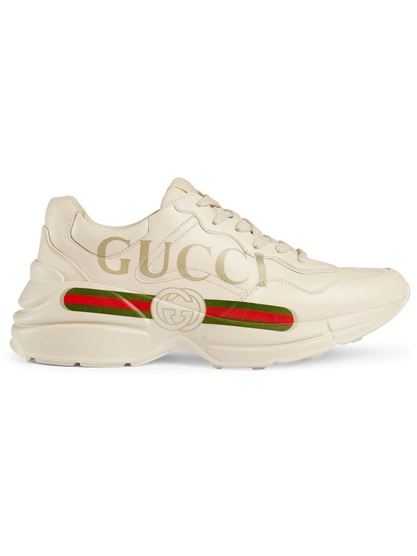 43407c2c5 Rhyton Gucci logo leather sneakers - WOMEN   The Webster