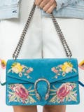Gucci - Small Dionysus Embroidered Suede Shoulder Bag - Women