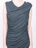 Balmain - Draped V-neck Sleeveless Dress - Women