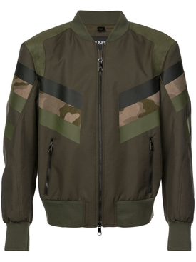 panelled camouflage bomber jacket GREEN