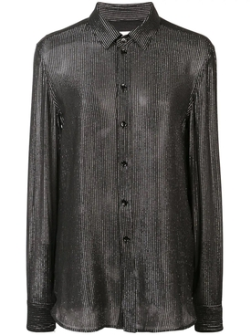 vernished effect blouse BLACK
