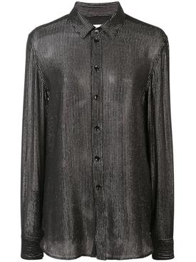 vernished effect blouse BLACK