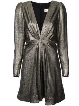 V-neck metallic dress