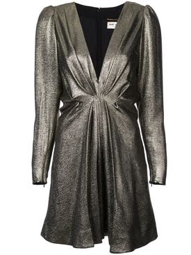 Saint Laurent - V-neck Metallic Dress - Women
