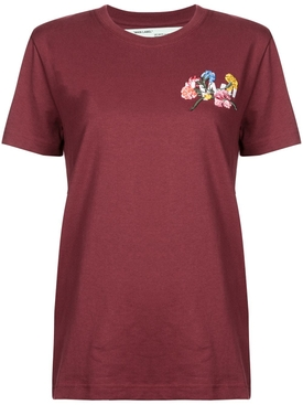 floral embroidered T-shirt BURGUNDY