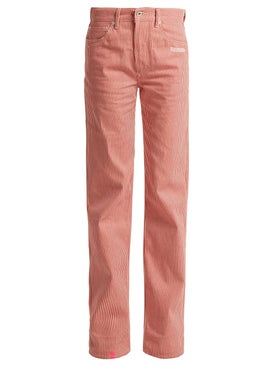 Off-white - Striped High-rise Straight Leg Jean - Women