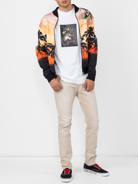 palm tree print bomber jacket