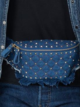 Valentino - Rockstud Quilted Denim Belt Bag - Women
