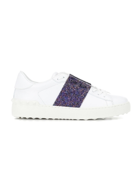 crystal-embellished leather sneakers WHITE