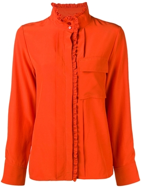 frilled band collar blouse ORANGE