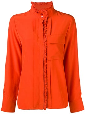 Chloé - Frilled Band Collar Blouse Orange - Women