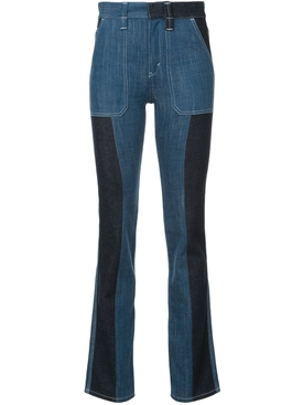 panelled boot-cut jeans