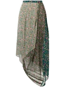 asymmetric floral print skirt