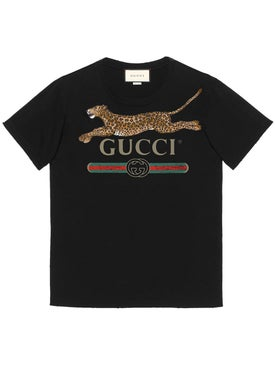 Gucci - Gucci Logo T-shirt With Leopard - Men