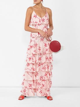 tiered frill dress RED