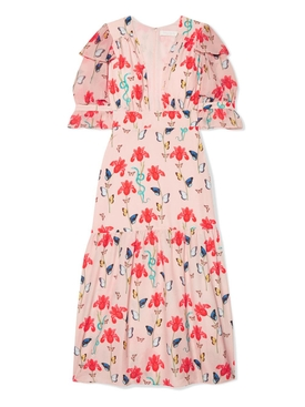 Dahlia printed crepe de chine midi dress PINK