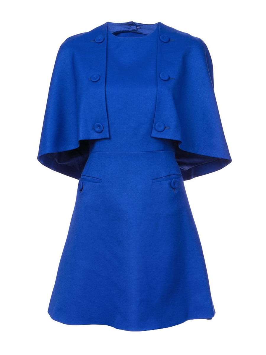 Sara Battaglia a-line cape dress blue