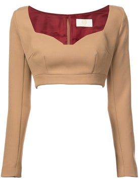 Sara Battaglia - Cropped Jersey Top Tan - Women