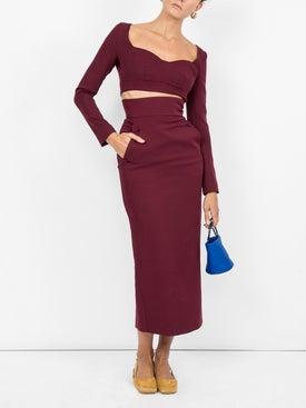 Sara Battaglia - Cropped Jersey Top Bordeaux - Women