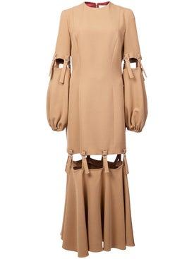 Sara Battaglia - Camel Loop Strap Cut Out Dress - Women