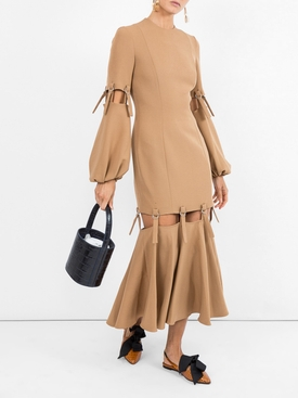 camel loop strap cut out dress NEUTRAL