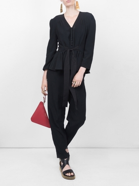 belted jumpsuit BLACK