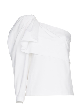 one-shoulder cotton top WHITE