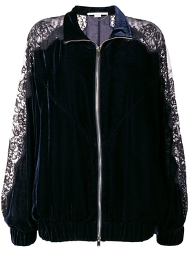 lace panel track jacket NAVY