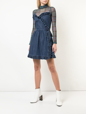 ruffled denim mini dress BLUE