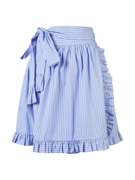 striped ruffle-trimmed skirt BLUE