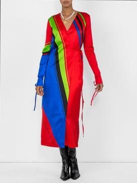 printed satin robe dress