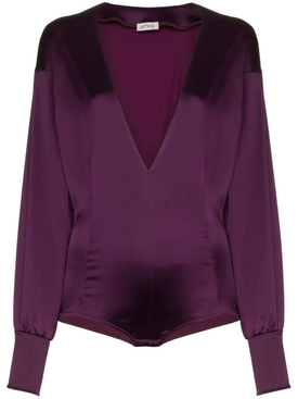 Attico - Satin Bodysuit Purple - Women
