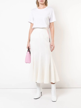 colourblock ruffled midi skirt