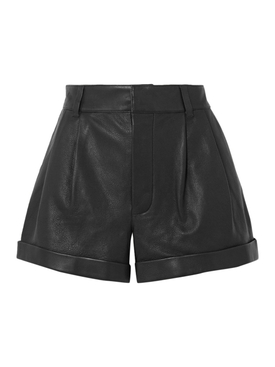 80's Pleated Leather Shorts Black