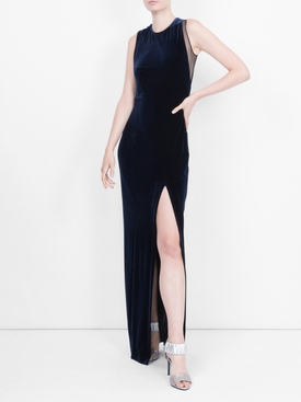 sheer panel velvet Crescent dress MIDNIGHT BLUE