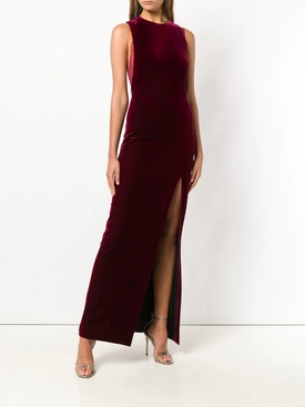 sheer panel velvet Crescent dress WINE