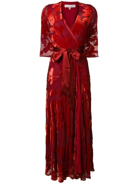 rose velvet wrap dress