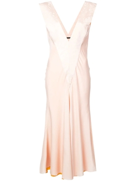 draped v-neck dress PINK