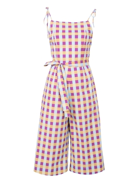 Gingham hibiscus jumpsuit MULTICOLOR