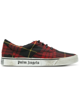 distressed plaid low-top sneakers RED