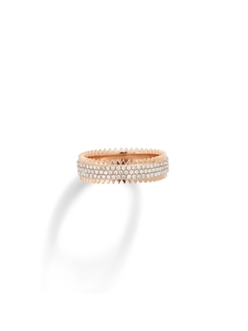 18K Rose Gold and diamond Triple zipper ring