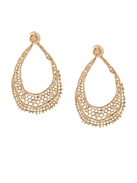 18kt yellow gold & diamond lace earrings