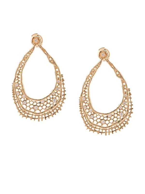 c3ba9e6aa Aurelie Bidermann - 18kt Yellow Gold & Diamond Lace Earrings - Women