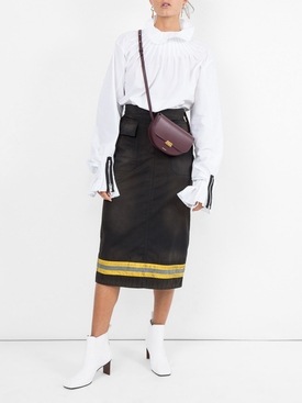 High-Waist Reflective Stripe Midi Skirt
