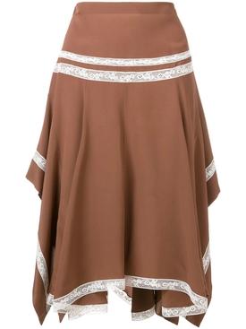 lace-embellished draped skirt